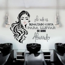 Stickers hair salons silhouette and phrase