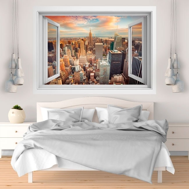 3D window vinyl New York city sunset