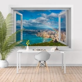 3D window vinyl rainbow beaches of Hawaii