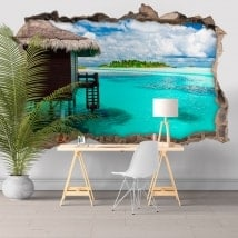 Wall stickers blue lagoon island 3D