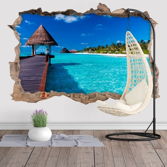 3D Decorative wall decals blue lagoon island