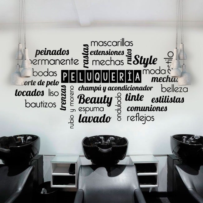 Vinyls texts and words hairdressers