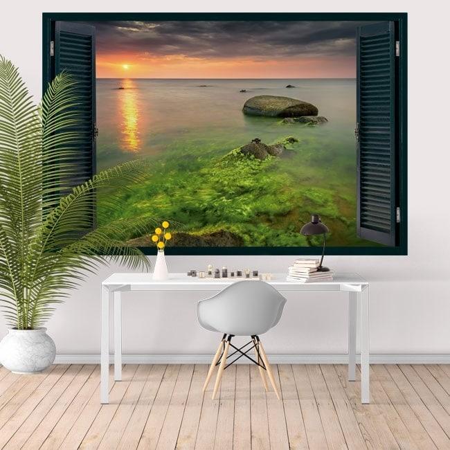 Window sunset California Malibu Rocky Beach 3D
