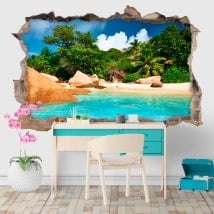 Decorative vinyl tropical island 3D