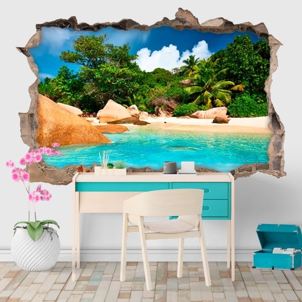 Decorative vinyl tropical island 3D