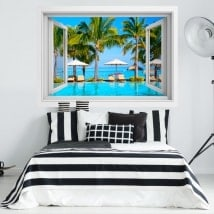 3D window vinyl Mauritius island beaches