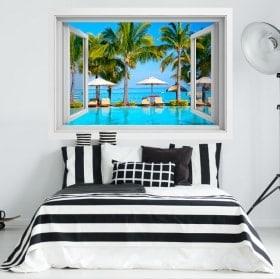3D window vinyl Mauritius island beaches