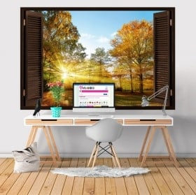 Wall stickers window sunset in the field 3D
