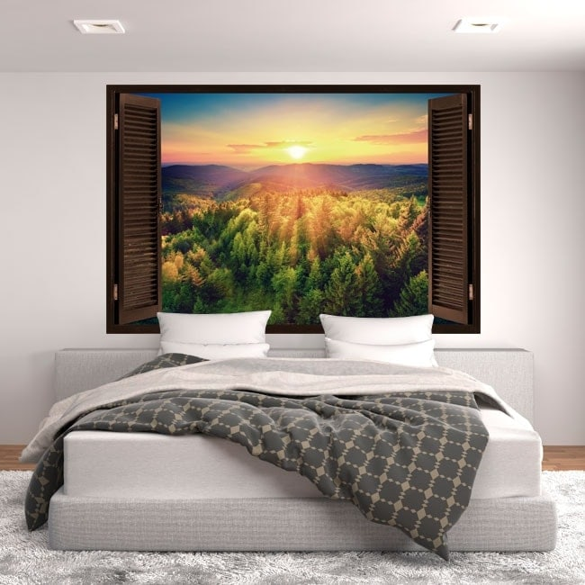 Wall stickers window sunset mountains 3D