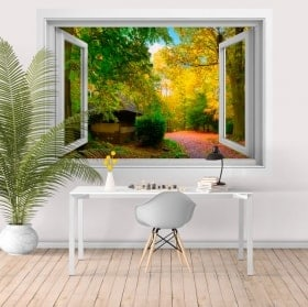 Wall stickers window country house 3D
