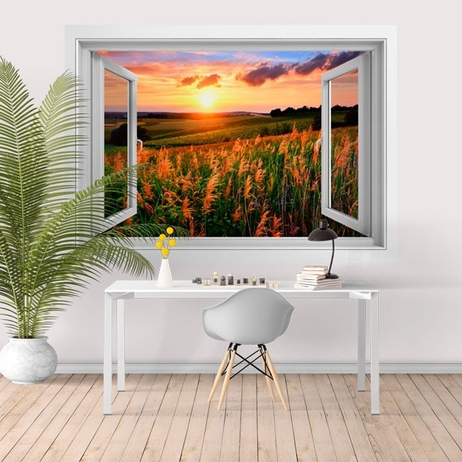 Stickers for wall window sunset in the field 3D