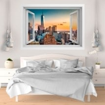 Wall stickers sunset in Manhattan 3D