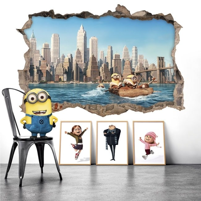 Wall Stickers minions in New York 3D