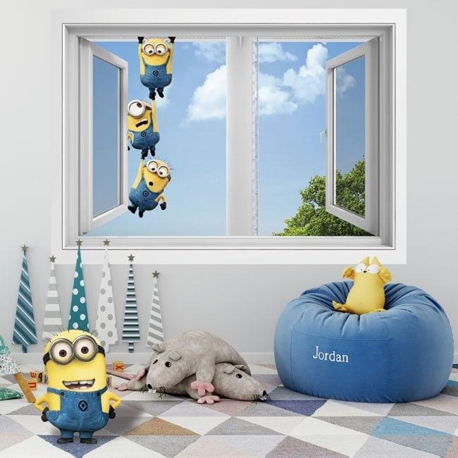Wall stickers 3D minions window