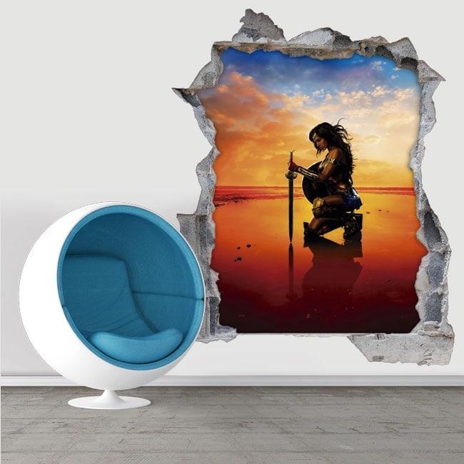 3D wonder woman decorative wall stickers