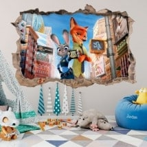 Wall vinyl children's zootopia 3D