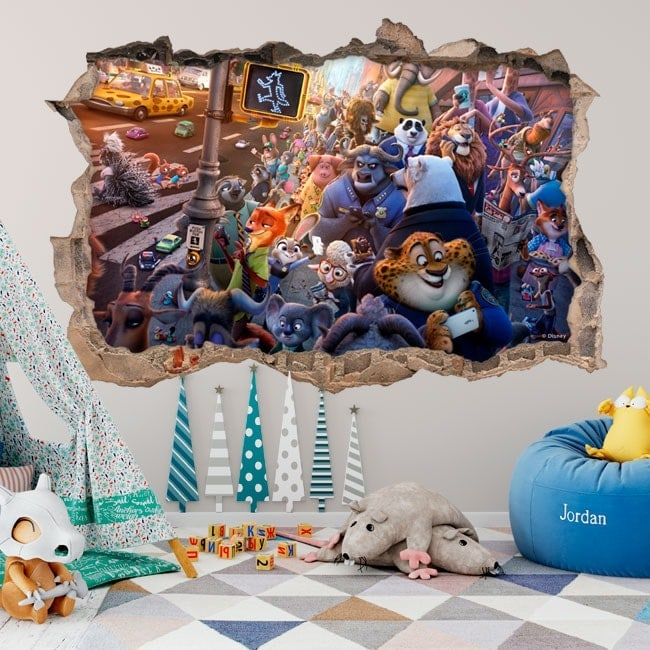 Wall stickers for children zootopia 3D