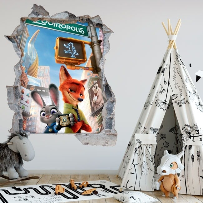 Stickers for wall zootopia 3D