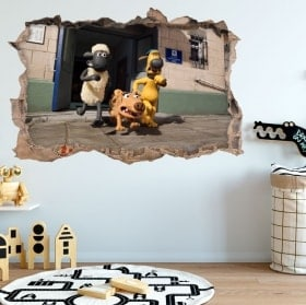 Vinyl wall hole Shaun 3D sheep