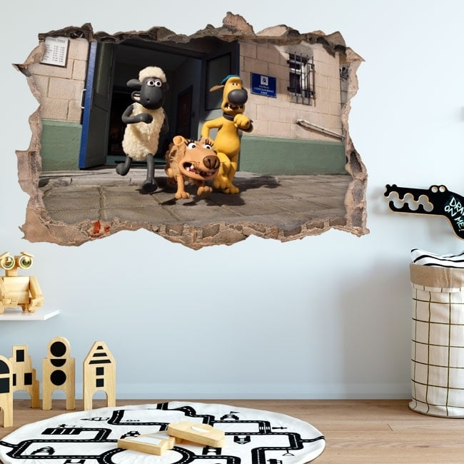 Vinyl wall hole Shaun 3D sheep