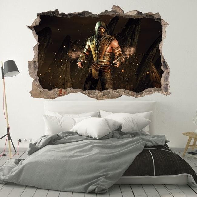 Wall stickers 3D hole mortal kombat scorpion