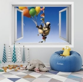 Wall stickers window the sheep Shaun 3D