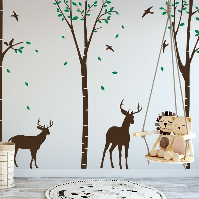 Decorative vinyl deer in the forest