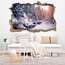Wall Stickers Winter Carpathian Mountains 3D