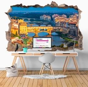 Decorative vinyl ponte vecchio Florence Italy 3D
