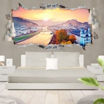 3D vinyl panoramic sunset in Salzburg Austria