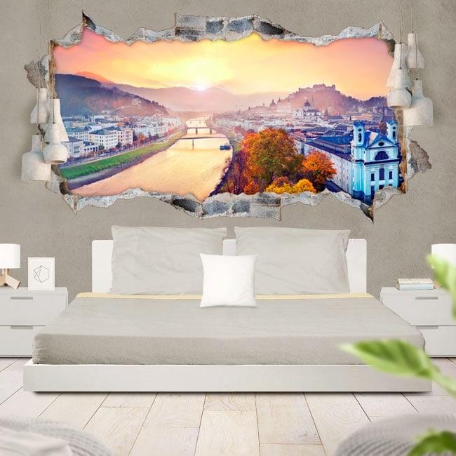 3D vinyl panoramic sunset in Salzburg Austria