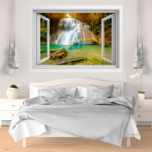 Decorative vinyl rainbow in the waterfall 3D