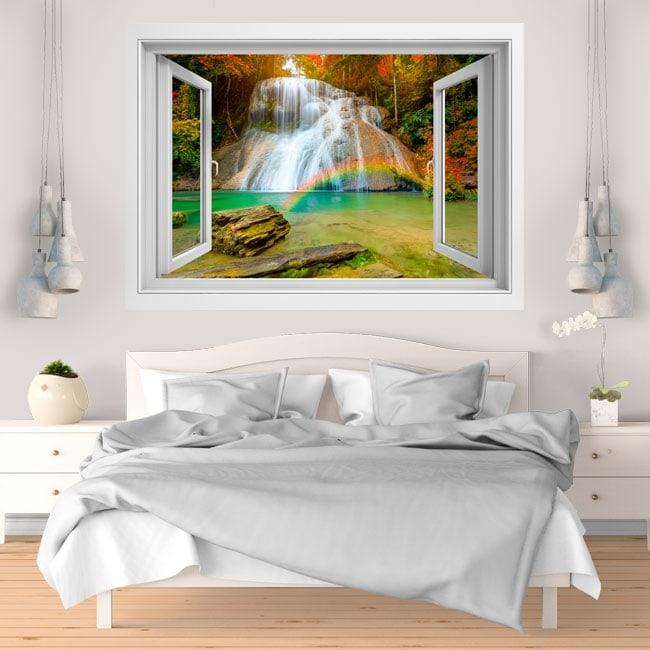 Decorative vinyl rainbow in the waterfall 3D