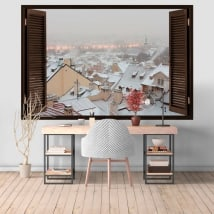 Wall murals Winter in Prague 3D