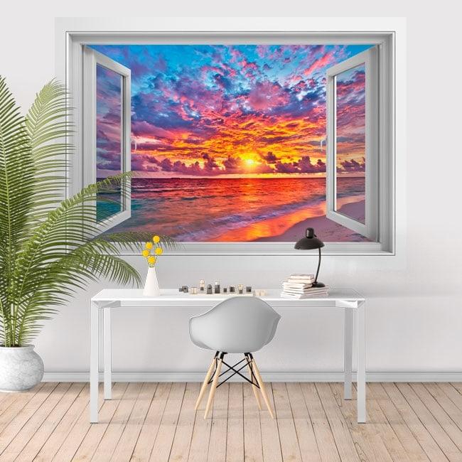 Vinyl sunset on the beach 3D