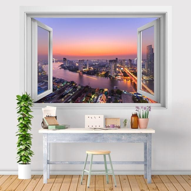 Vinyl sunset city Bangkok 3D