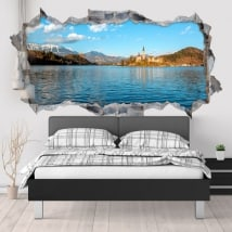 Decorative vinyl lake Bled Slovenia 3D