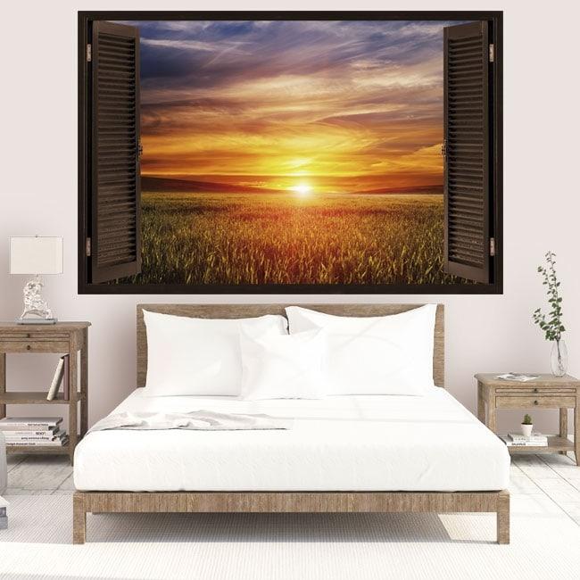 Vinyl windows sunset in the field 3D
