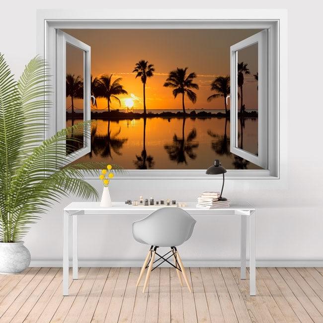 Adhesive vinyl sunset on the beach 3D