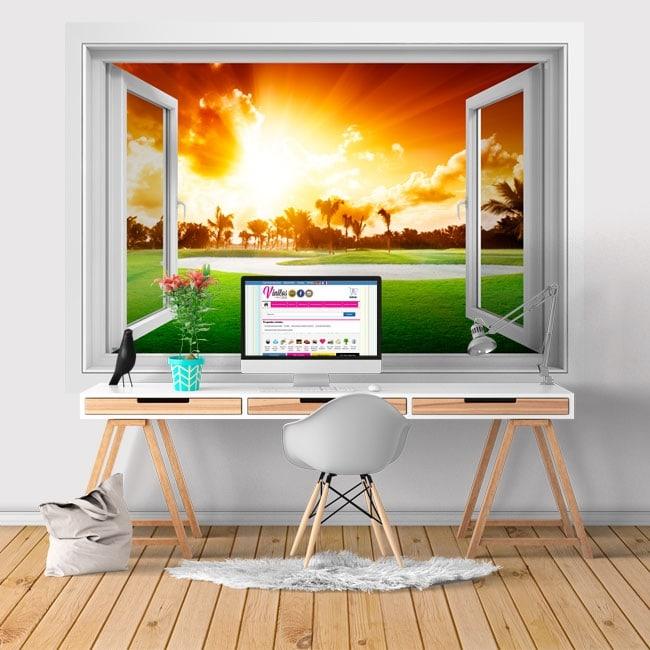 Vinyl window 3D sunset