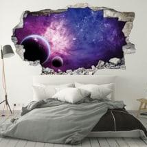 Vinyl walls planets and galaxy 3D