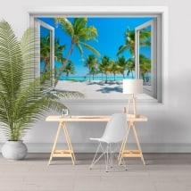 Stickers windows palm trees on the beach 3D