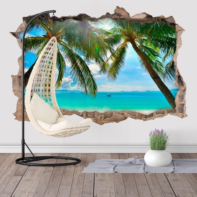 Vinyl palm trees on the beach 3D