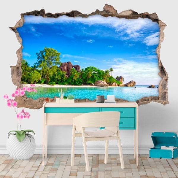 Decorative vinyl island La Digue Seychelles 3D