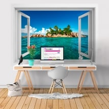 Vinyl walls tropical island 3D window