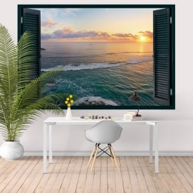 Wall stickers window sunset Tropical Island 3D