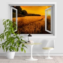 Vinyl and stickers sunset in the wheat field 3D