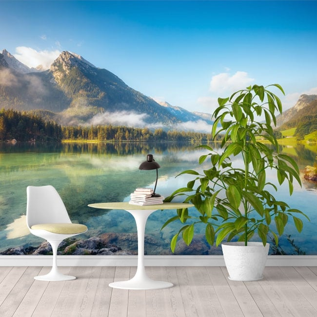 Wall mural lake in the snowy mountains