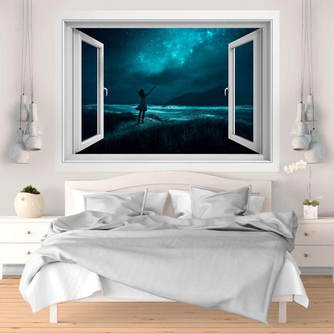 Decorative vinyl 3D windows magic night