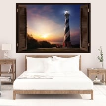 Wall Decal sunset at the lighthouse 3D